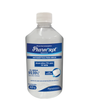 Álcool em gel 70% Pharmsept - PharmaScience Indústria Farmacêutica